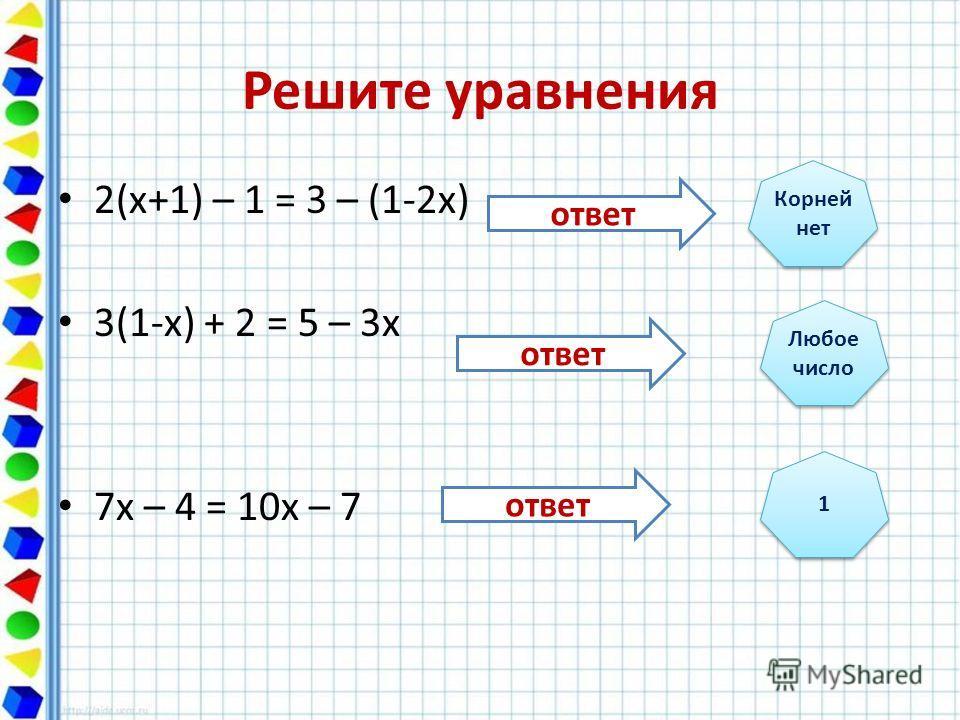 Решите уравнения 2(х+1) – 1 = 3 – (1-2х) 3(1-х) + 2 = 5 – 3х 7х – 4 = 10х – 7 Корней нет Любое число Любое число 1 1 ответ