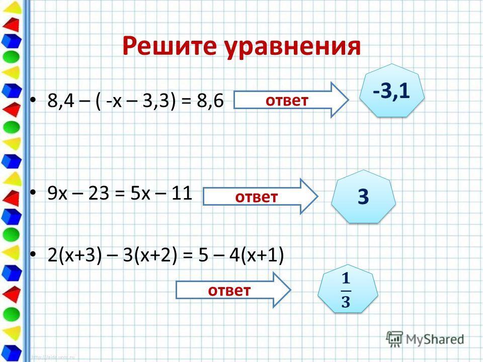 Решите уравнения 8,4 – ( -х – 3,3) = 8,6 9х – 23 = 5х – 11 2(х+3) – 3(х+2) = 5 – 4(х+1) -3,1 3 3 ответ
