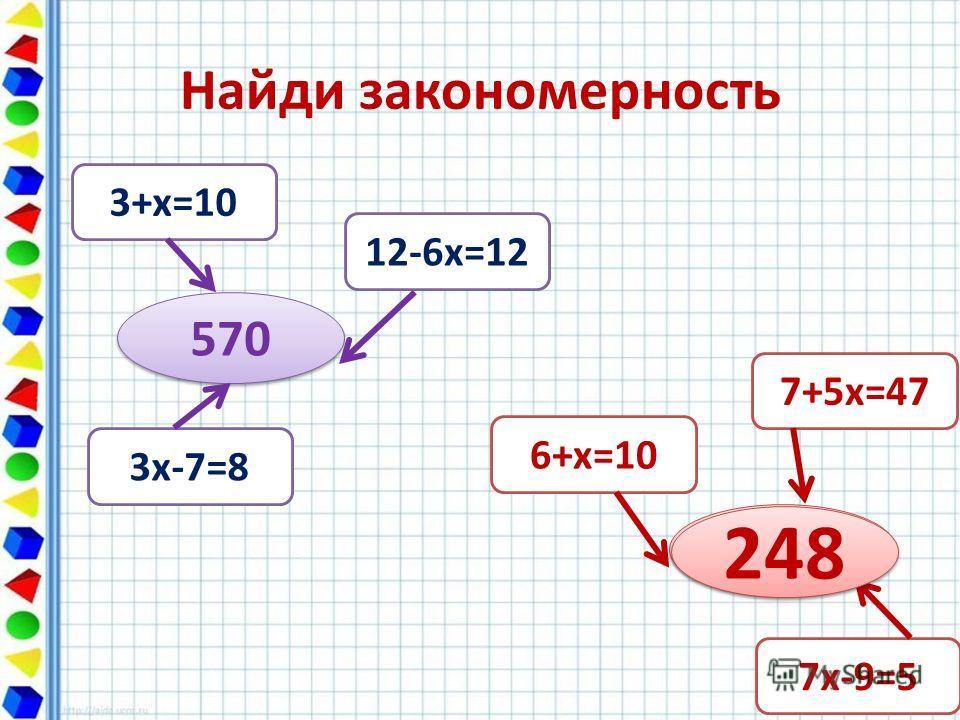 Найди закономерность 570 3+х=10 12-6х=12 3х-7=8 ? ? 7+5х=47 6+х=10 7х-9=5 248