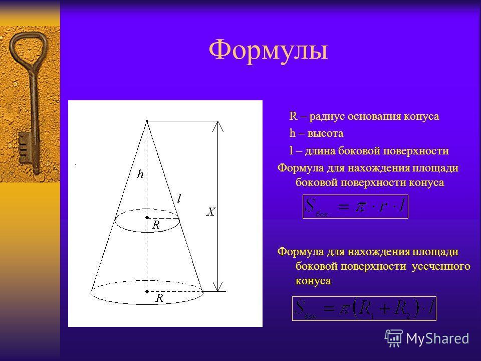 Формулы R – радиус основания конуса h – высота l – длина боковой поверхности Формула для нахождения площади боковой поверхности конуса Формула для нахождения площади боковой поверхности усеченного конуса