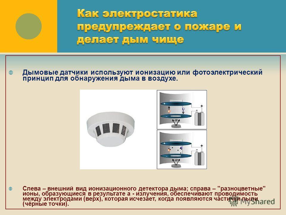 Дымовые датчики используют ионизацию или фотоэлектрический принцип для обнаружения дыма в воздухе. Слева – внешний вид ионизационного детектора дыма; справа –