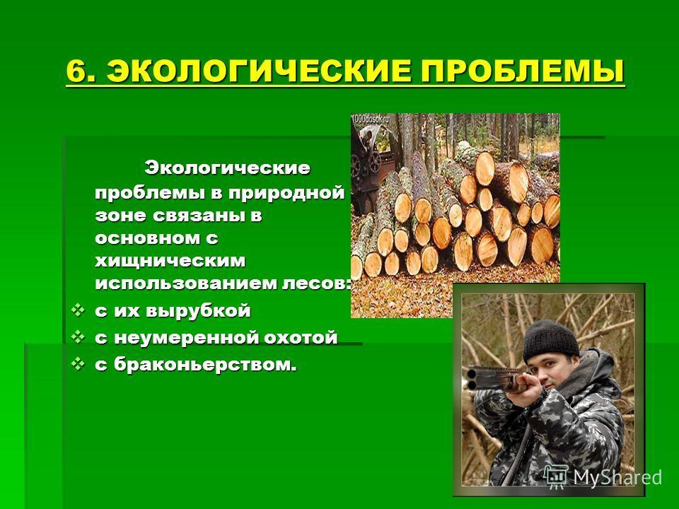 6. ЭКОЛОГИЧЕСКИЕ ПРОБЛЕМЫ Экологические проблемы в природной зоне связаны в основном с хищническим использованием лесов: Экологические проблемы в природной зоне связаны в основном с хищническим использованием лесов: с их вырубкой с их вырубкой с неум