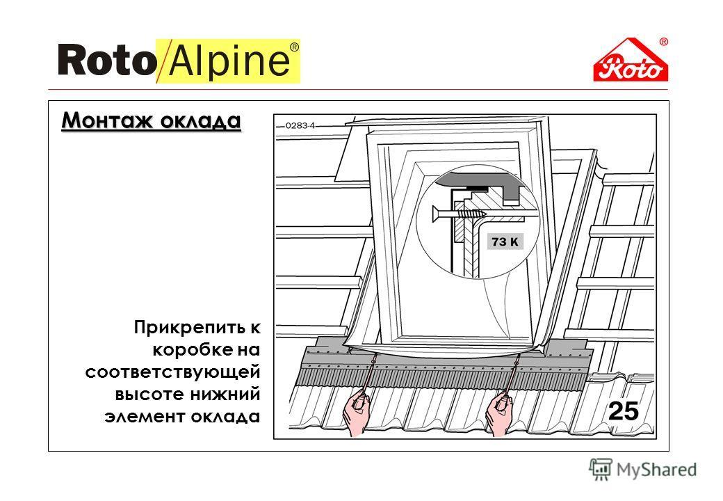 Прикрепить к коробке на соответствующей высоте нижний элемент оклада Монтаж оклада