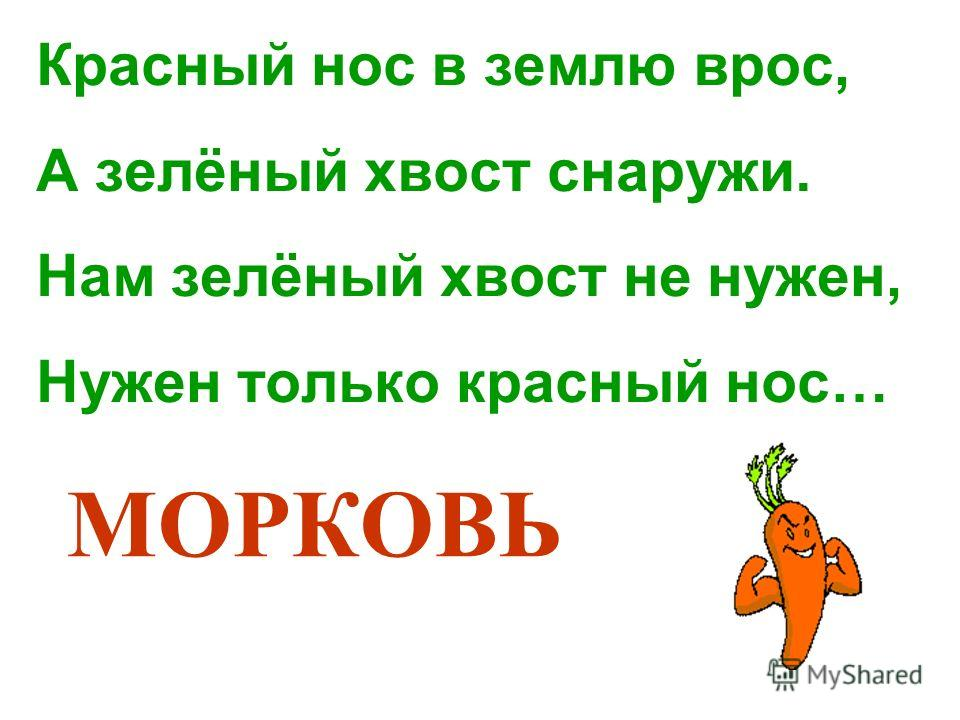 Красный нос в землю врос, А зелёный хвост снаружи. Нам зелёный хвост не нужен, Нужен только красный нос… МОРКОВЬ
