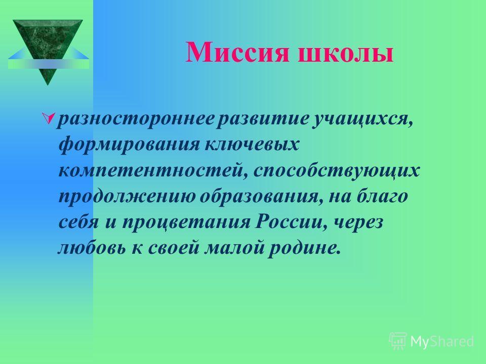 Миссия школы разностороннее развитие учащихся, формирования ключевых компетентностей, способствующих продолжению образования, на благо себя и процветания России, через любовь к своей малой родине.