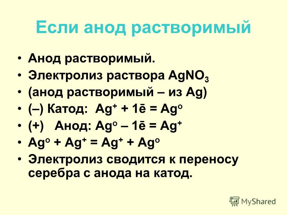 Электролиз раствора NaCl Раствор NaCl (–) Катод Na+ Cl– (+) Анод H2O H2O (–) Катод: 2H 2 O + 2ē = H 2 + 2OH – (+) Анод: 2Cl – – 2ē = Cl 2 2H 2 O + 2Cl – = H 2 + Cl 2 + 2OH – 2H 2 O+2NaCl=H 2 +Cl 2 + 2NaOH