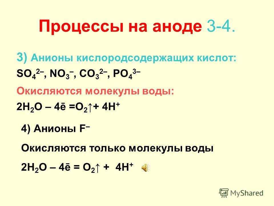 Процессы на аноде 1-2 1) Анионы бескислородных кислот: I –, Br –, S 2–, Cl – Окисляются кислотные остатки A m– – mē = A o 2) Анионы OH – Окисляются только при электролизе растворов щёлочей 4OH – – 4ē = O 2 + 2H 2 O
