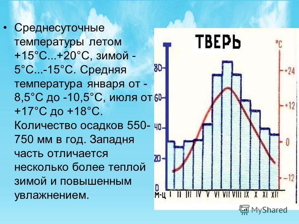 Среднесуточные температуры летом +15°С...+20°С, зимой - 5°С...-15°С. Средняя температура января от - 8,5°С до -10,5°С, июля от +17°С до +18°С. Количество осадков 550- 750 мм в год. Западня часть отличается несколько более теплой зимой и повышенным ув