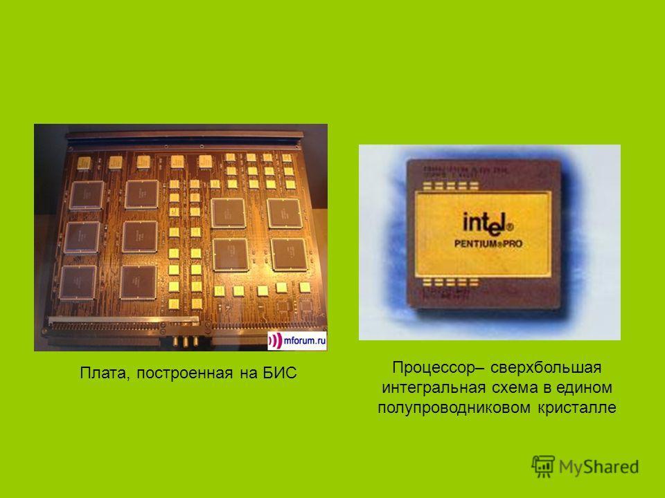 Плата, построенная на БИС Процессор– сверхбольшая интегральная схема в едином полупроводниковом кристалле