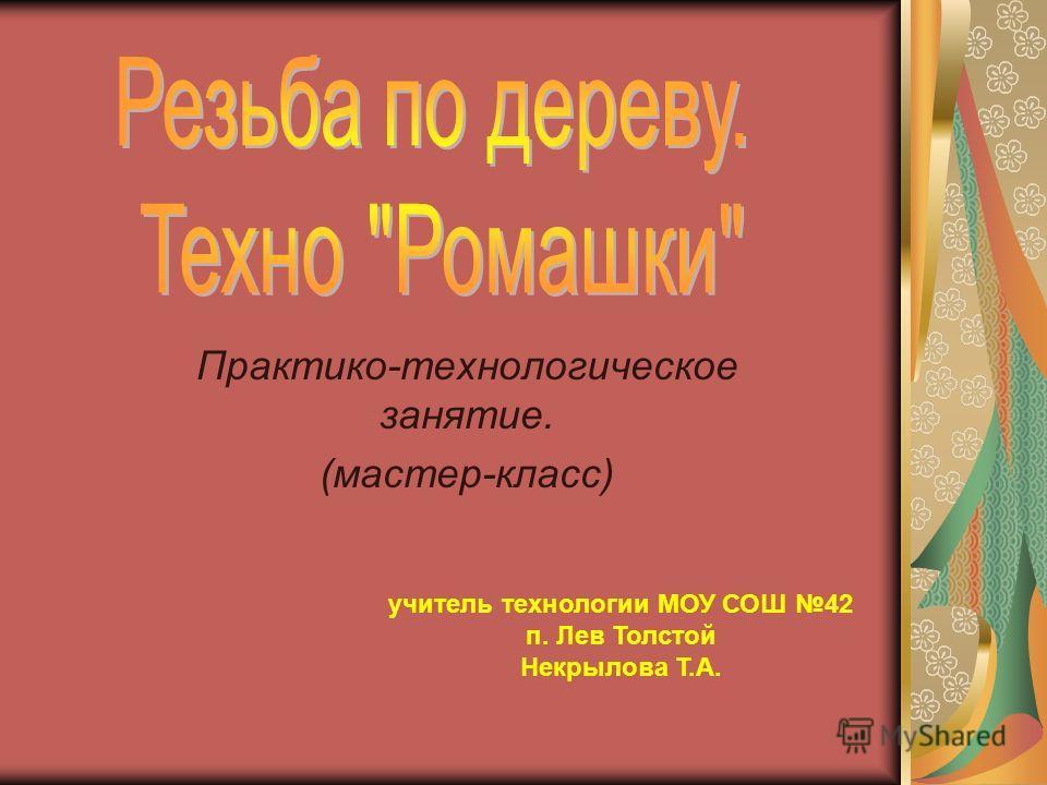 Практико-технологическое занятие. (мастер-класс) учитель технологии МОУ СОШ 42 п. Лев Толстой Некрылова Т.А.