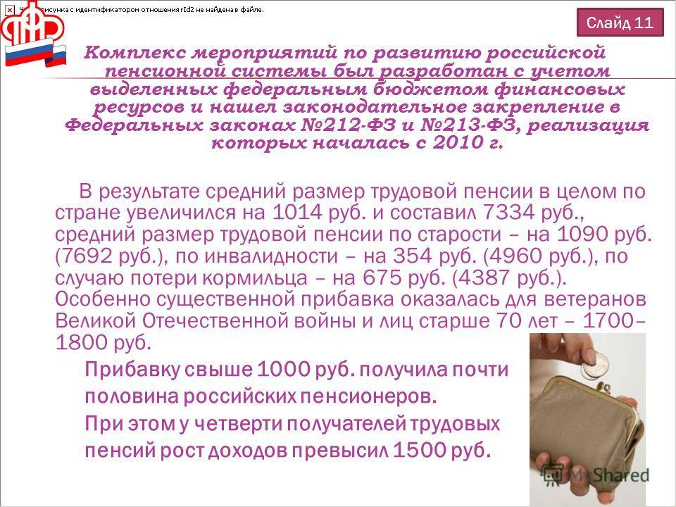 Комплекс мероприятий по развитию российской пенсионной системы был разработан с учетом выделенных федеральным бюджетом финансовых ресурсов и нашел законодательное закрепление в Федеральных законах 212-ФЗ и 213-ФЗ, реализация которых началась с 2010 г