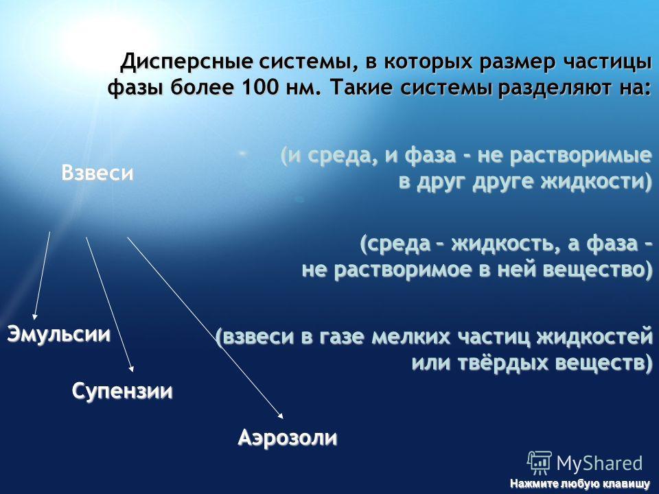 Взвеси Эмульсии Супензии Аэрозоли Дисперсные системы, в которых размер частицы фазы более 100 нм. Такие системы разделяют на: (и среда, и фаза - не растворимые в друг друге жидкости) (среда – жидкость, а фаза – не растворимое в ней вещество) (взвеси