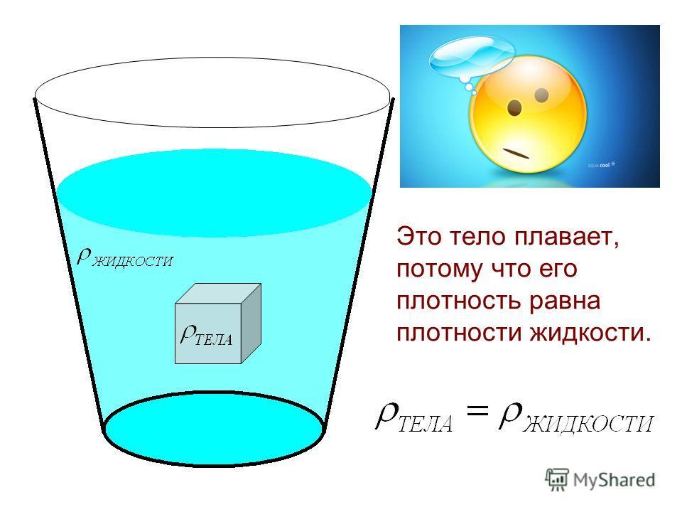 Это тело плавает, потому что его плотность равна плотности жидкости.