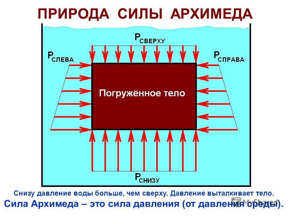 ПРИРОДА СИЛЫ АРХИМЕДА Снизу давление воды больше, чем сверху. Давление выталкивает тело. Сила Архимеда – это сила давления (от давления среды).
