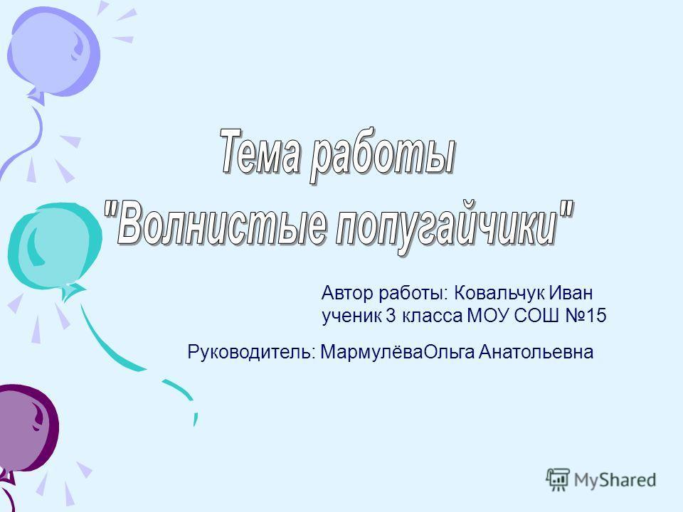 Автор работы: Ковальчук Иван ученик 3 класса МОУ СОШ 15 Руководитель: МармулёваОльга Анатольевна