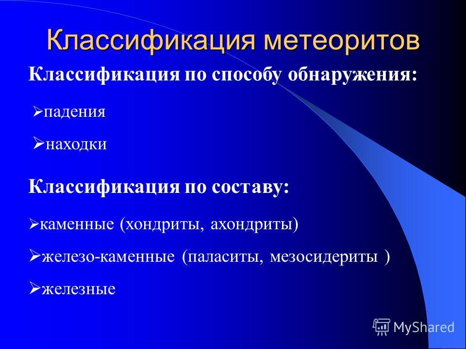 Классификация метеоритов Классификация по способу обнаружения: падения находки Классификация по составу: каменные (хондриты, ахондриты) железо-каменные (паласиты, мезосидериты ) железные