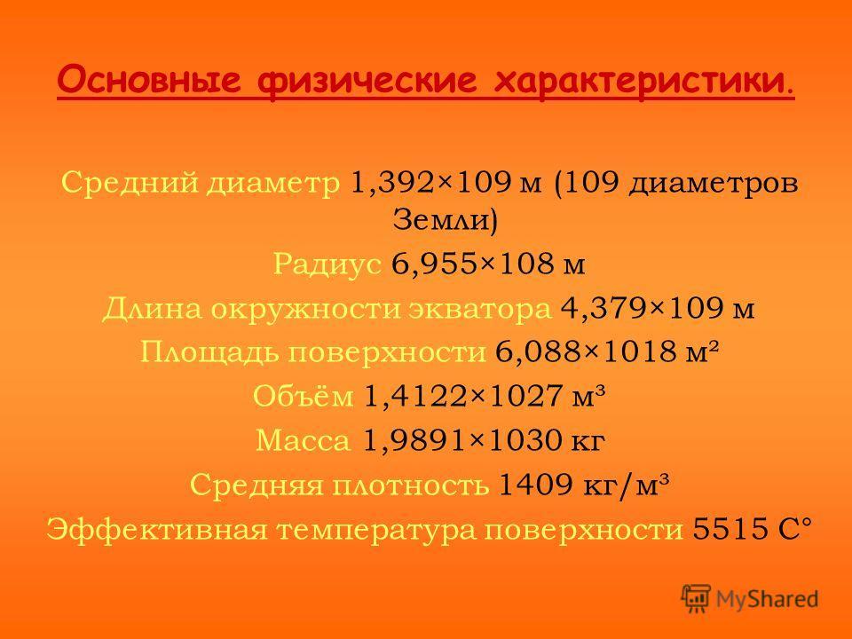 Основные физические характеристики. Средний диаметр 1,392×109 м (109 диаметров Земли) Радиус 6,955×108 м Длина окружности экватора 4,379×109 м Площадь поверхности 6,088×1018 м² Объём 1,4122×1027 м³ Масса 1,9891×1030 кг Средняя плотность 1409 кг/м³ Эф