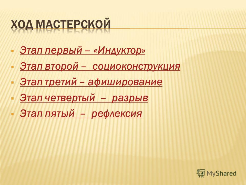 Этап первый – «Индуктор» Этап второй – социоконструкция Этап третий – афиширование Этап четвертый – разрыв Этап пятый – рефлексия