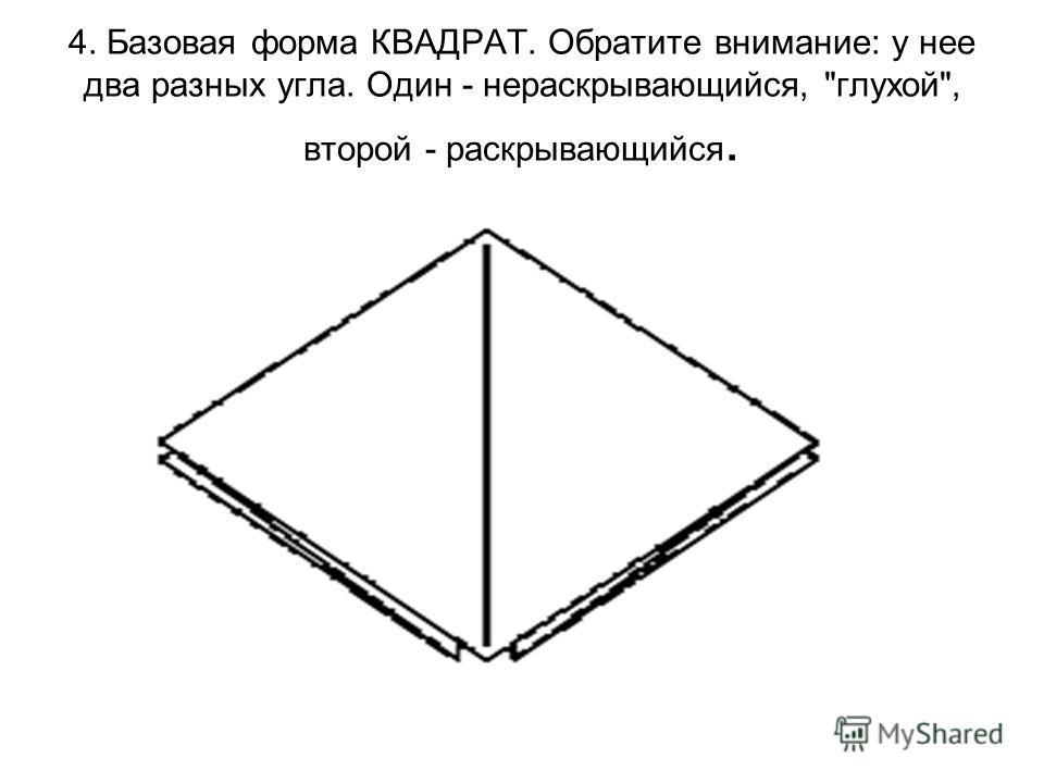 4. Базовая форма КВАДРАТ. Обратите внимание: у нее два разных угла. Один - нераскрывающийся, глухой, второй - раскрывающийся.
