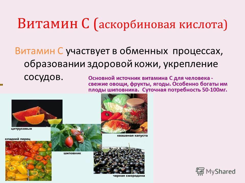 Витамин С ( аскорбиновая кислота ) Витамин С участвует в обменных процессах, образовании здоровой кожи, укрепление сосудов. Основной источник витамина C для человека - свежие овощи, фрукты, ягоды. Особенно богаты им плоды шиповника. Суточная потребно