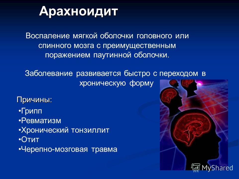 Арахноидит Воспаление мягкой оболочки головного или спинного мозга с преимущественным поражением паутинной оболочки. Заболевание развивается быстро с переходом в хроническую форму Причины: Грипп Ревматизм Хронический тонзиллит Отит Черепно-мозговая т