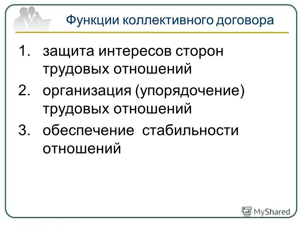 Функции коллективного договора 1.защита интересов сторон трудовых отношений 2.организация (упорядочение) трудовых отношений 3.обеспечение стабильности отношений