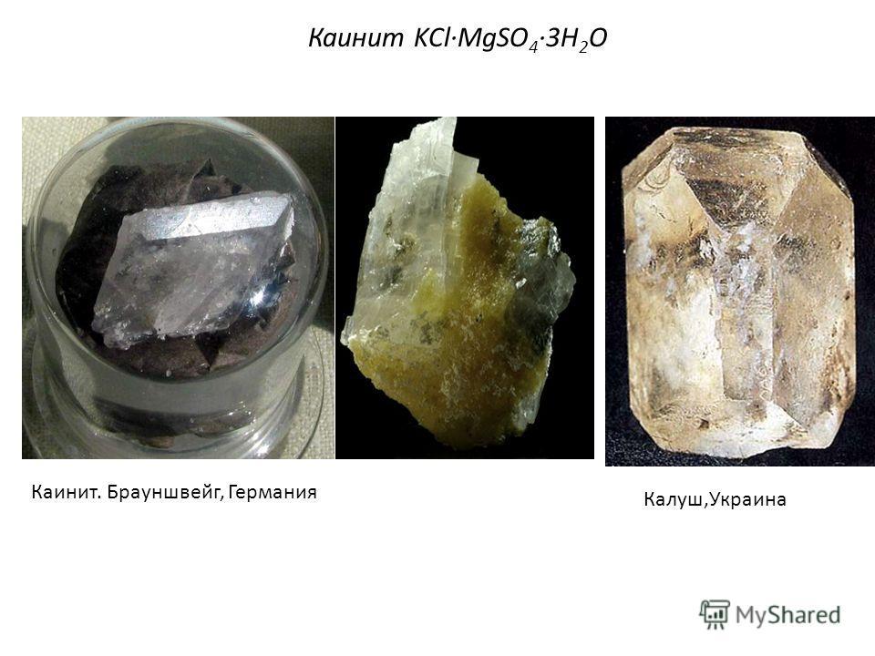 Каинит KCl·MgSO 4 ·3Н 2 О Каинит. Брауншвейг, Германия Калуш,Украина