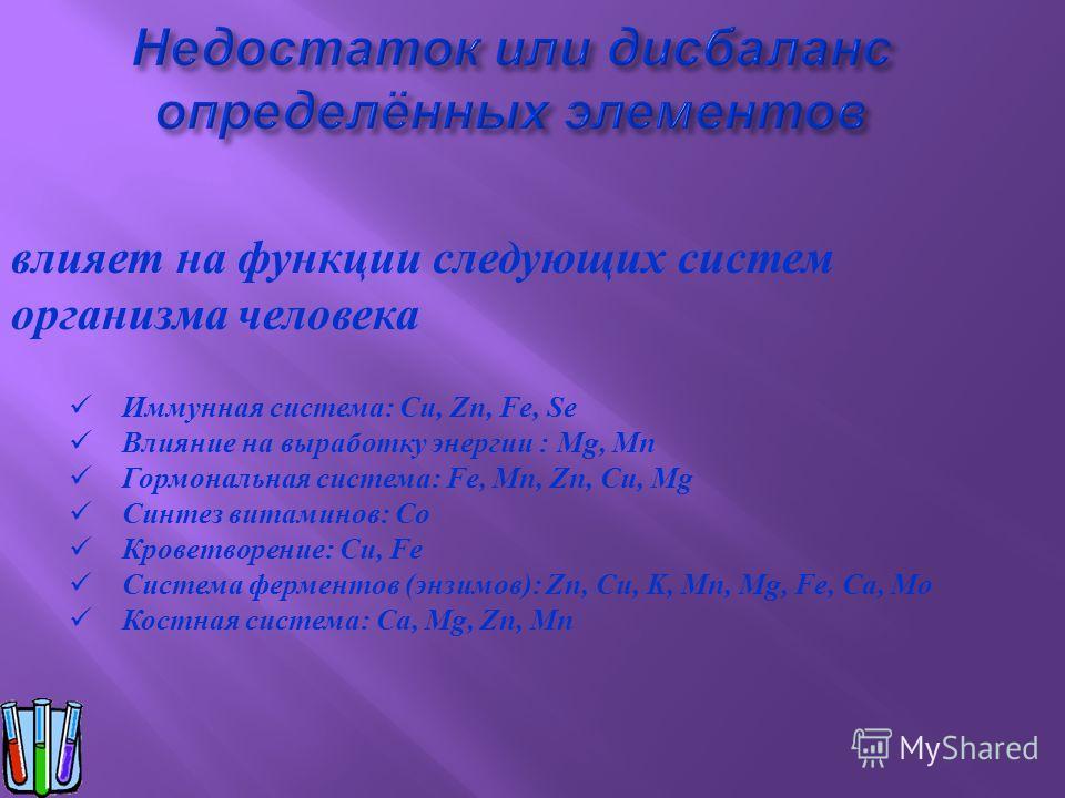 Иммунная система: Cu, Zn, Fe, Se Влияние на выработку энергии : Mg, Mn Гормональная система: Fe, Mn, Zn, Cu, Mg Синтез витаминов: Co Кроветворение: Cu, Fe Система ферментов (энзимов): Zn, Cu, K, Mn, Mg, Fe, Ca, Mo Костная система: Ca, Mg, Zn, Mn влия