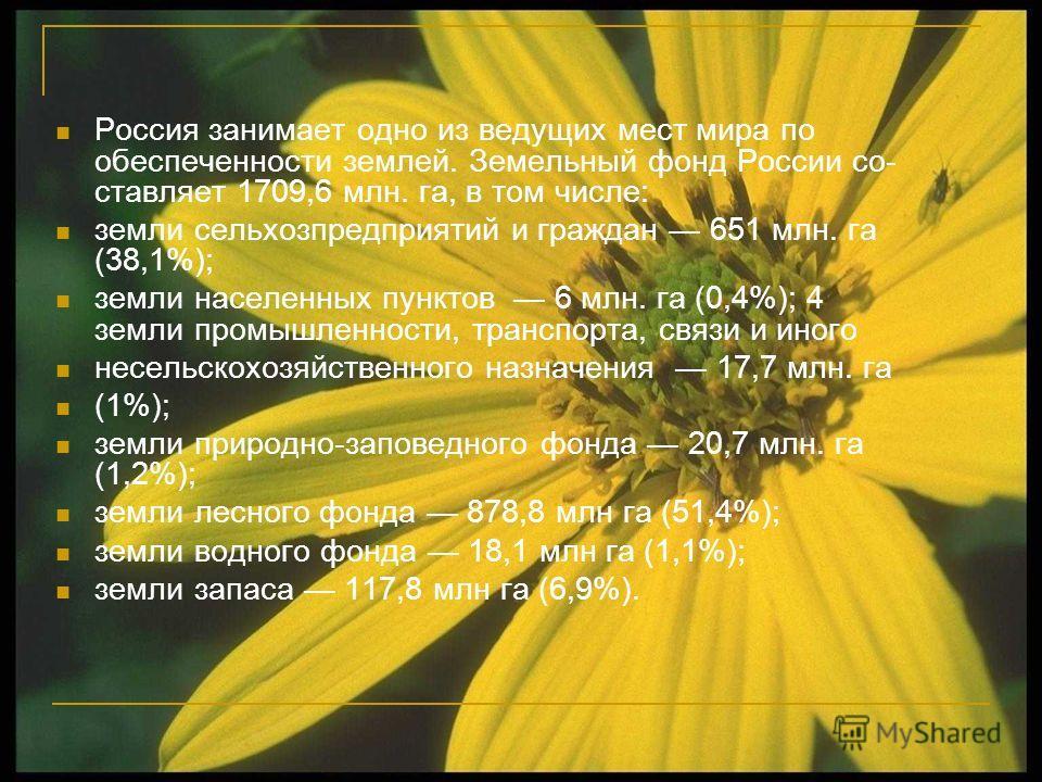 Россия занимает одно из ведущих мест мира по обеспеченности землей. Земельный фонд России со ставляет 1709,6 млн. га, в том числе: земли сельхозпредприятий и граждан 651 млн. га (38,1%); земли населенных пунктов 6 млн. га (0,4%); 4 земли промышленно