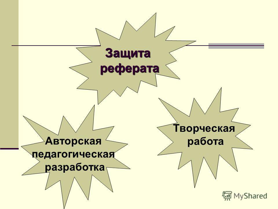 Защита реферата реферата Авторская педагогическая разработка Творческая работа