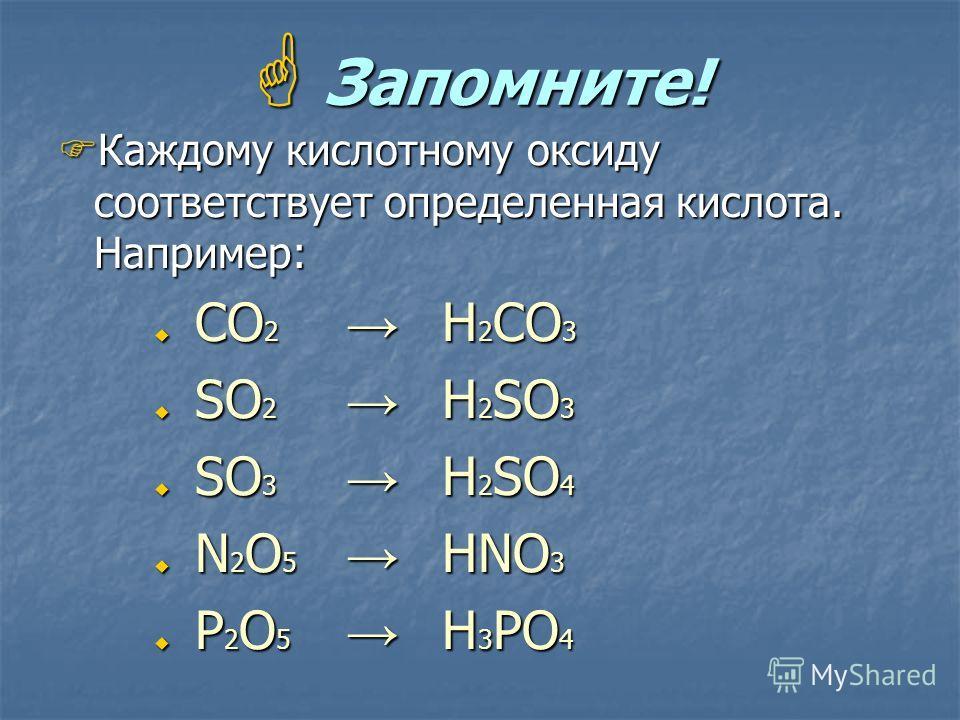 Запомните! Запомните! Каждому кислотному оксиду соответствует определенная кислота. Например: Каждому кислотному оксиду соответствует определенная кислота. Например: СО 2 Н 2 СО 3 СО 2 Н 2 СО 3 SО 2 H 2 SО 3 SО 2 H 2 SО 3 SО 3 Н 2 SО 4 SО 3 Н 2 SО 4