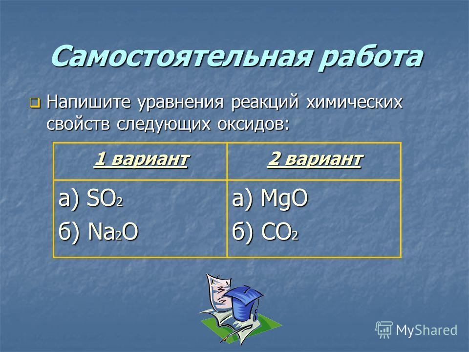 Самостоятельная работа Напишите уравнения реакций химических свойств следующих оксидов: Напишите уравнения реакций химических свойств следующих оксидов: 1 вариант 2 вариант a) SO 2 б) Na 2 O a) MgO б) CO 2