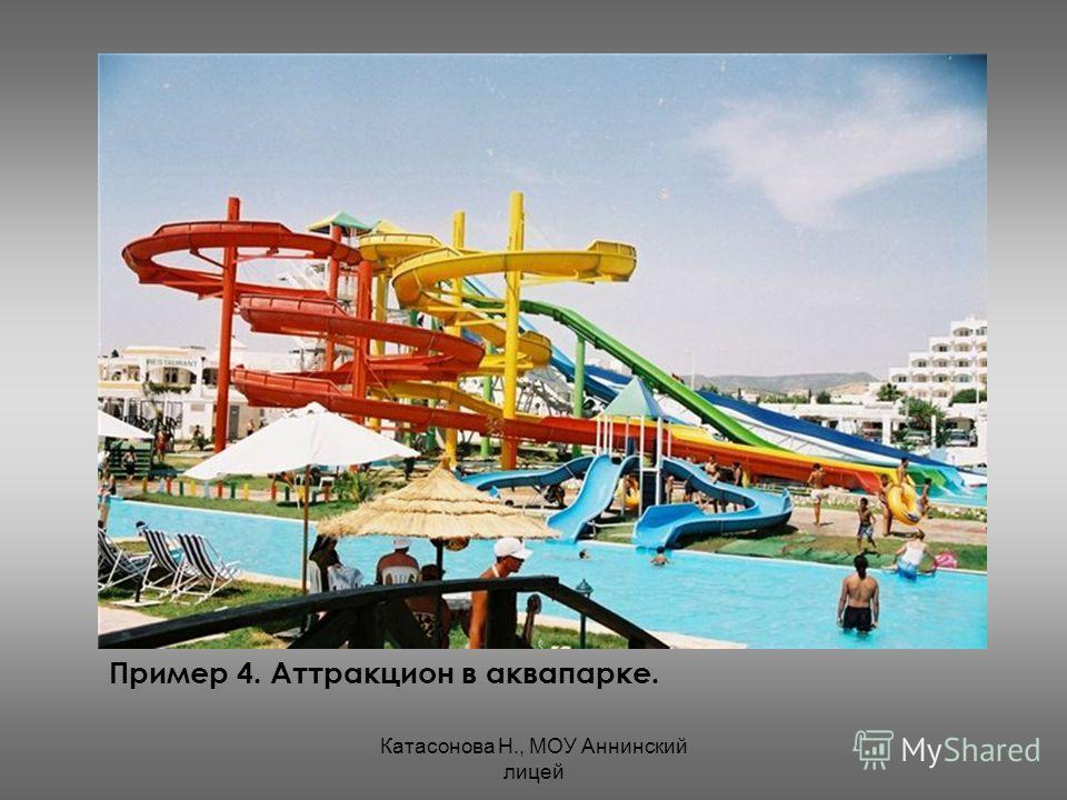 Катасонова Н., МОУ Аннинский лицей Пример 4. Аттракцион в аквапарке.