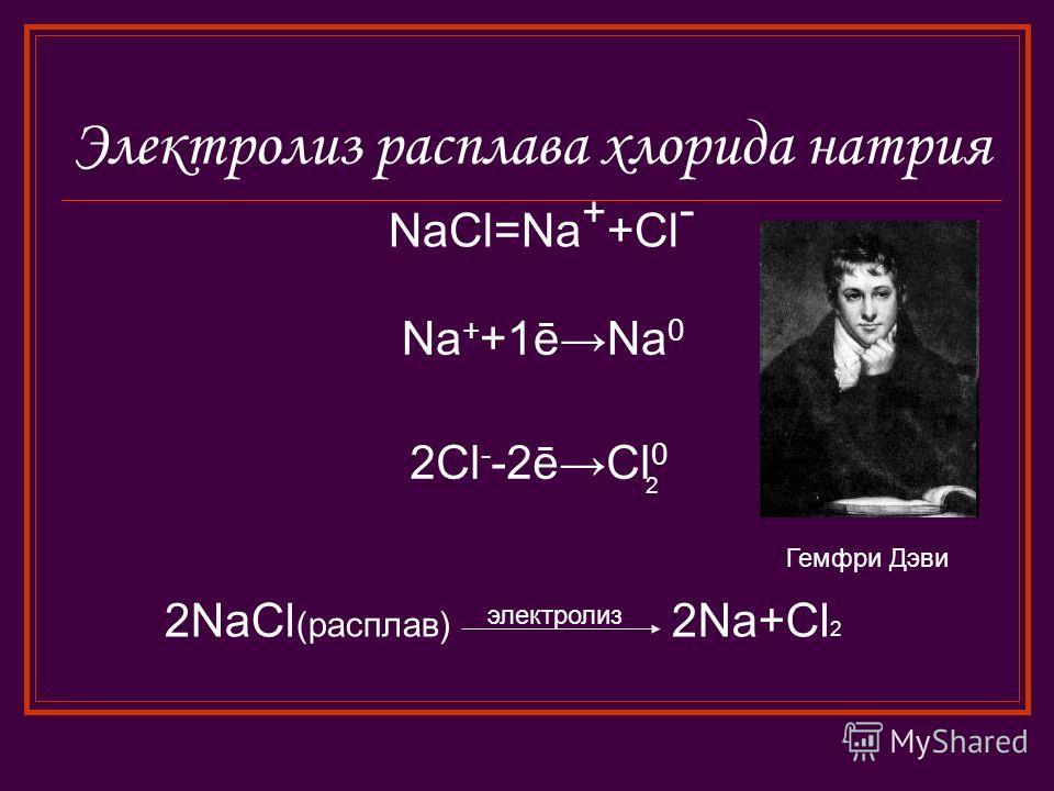 Электролиз расплава хлорида натрия NaCl=Na + +Cl - Na + +1ēNa 0 2Cl - -2ēCl 0 2 2NaCl (расплав) электролиз 2Na+Cl 2 Гемфри Дэви