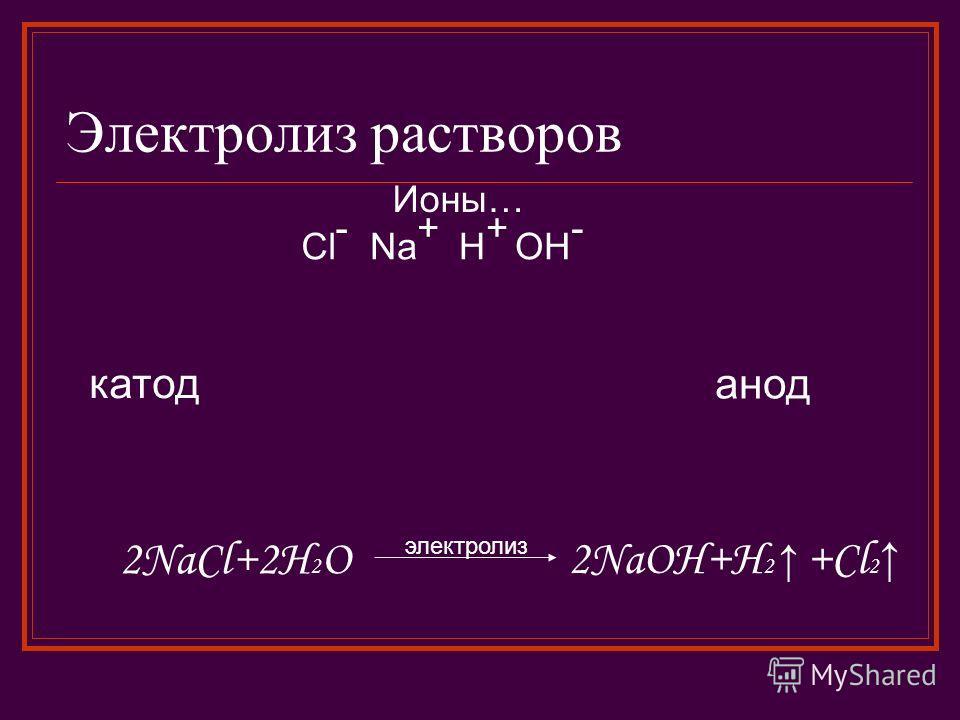 Электролиз растворов катод анод Ионы… Na + H+H+ Cl - OH - 2NaCl+2H 2 O электролиз 2NaOH+H 2 +Cl 2