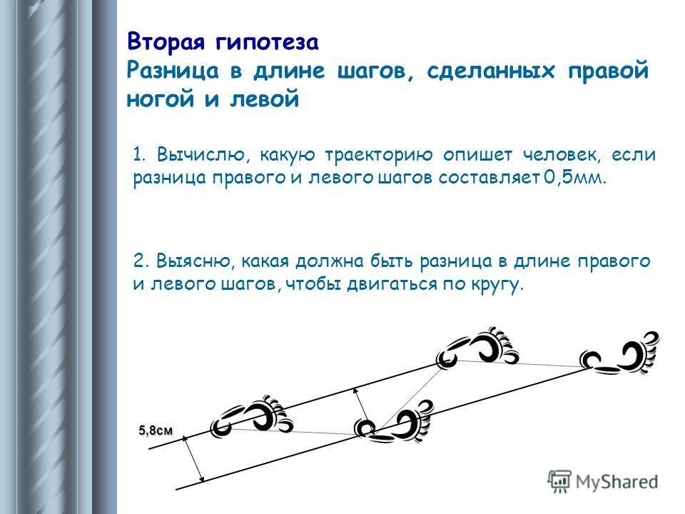 Вторая гипотеза Разница в длине шагов, сделанных правой ногой и левой 1. Вычислю, какую траекторию опишет человек, если разница правого и левого шагов составляет 0,5мм. 2. Выясню, какая должна быть разница в длине правого и левого шагов, чтобы двигат