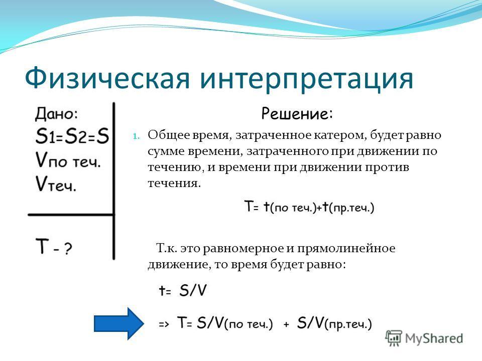 Физическая интерпретация Решение: 1. Общее время, затраченное катером, будет равно сумме времени, затраченного при движении по течению, и времени при движении против течения. Т.к. это равномерное и прямолинейное движение, то время будет равно:
