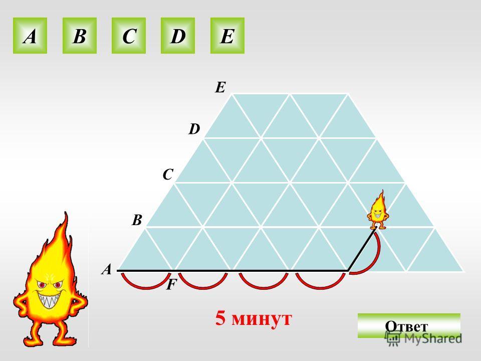 A B C D E O 5 минут АВСDE F Ответ