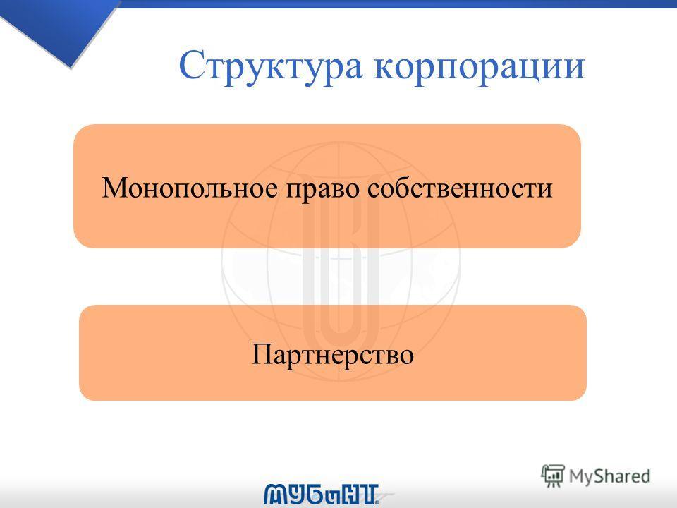 Структура корпорации Монопольное право собственности Партнерство