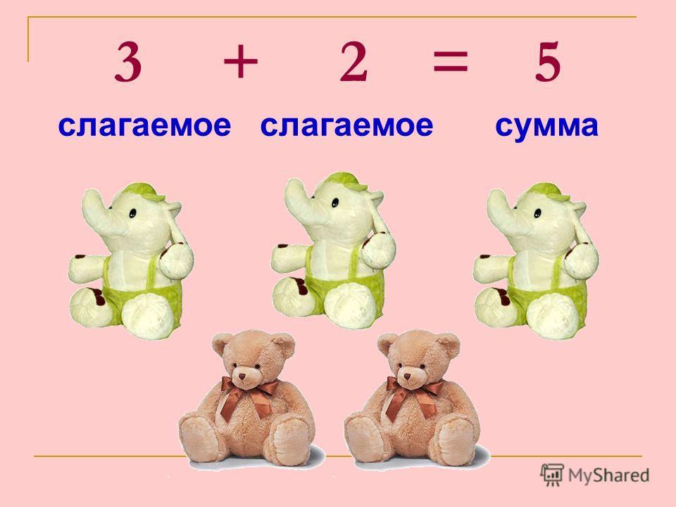 3 + 2 = 5 слагаемое сумма