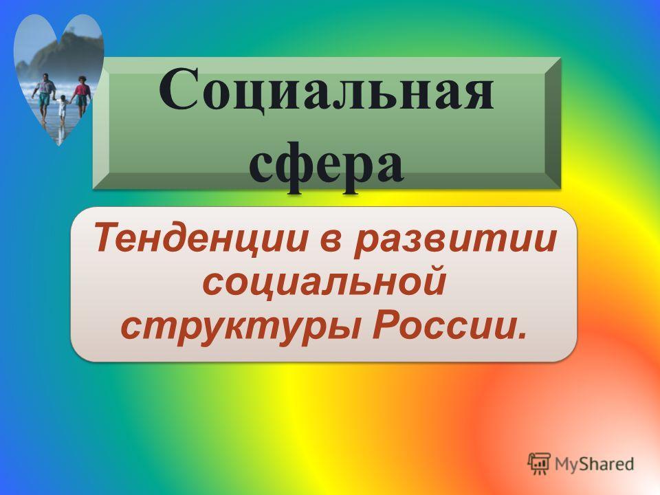 Социальная сфера Тенденции в развитии социальной структуры России.