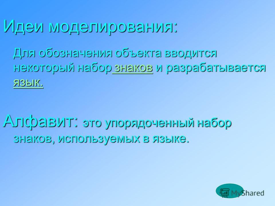 Идеи моделирования: Для обозначения объекта вводится некоторый набор знаков и разрабатывается язык. знаков язык. знаков язык. Алфавит: это упорядоченный набор знаков, используемых в языке.