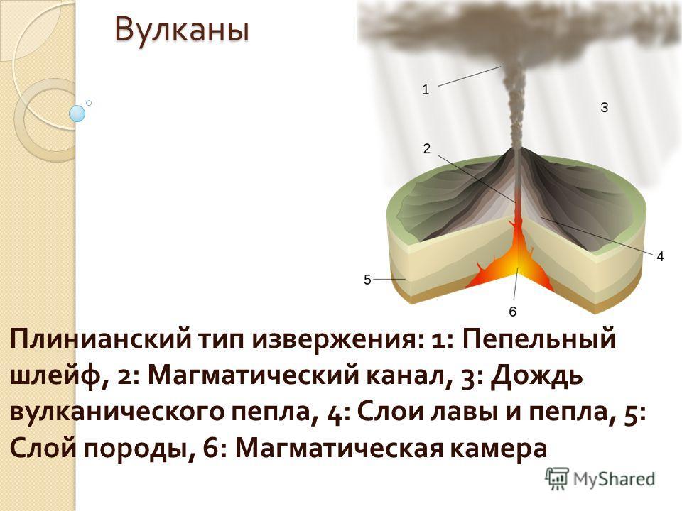 Вулканы Плинианский тип извержения : 1: Пепельный шлейф, 2: Магматический канал, 3: Дождь вулканического пепла, 4: Слои лавы и пепла, 5: Слой породы, 6: Магматическая камера