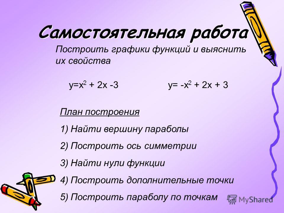 Самостоятельная работа Построить графики функций и выяснить их свойства y=x 2 + 2x -3 y= -x 2 + 2x + 3 План построения 1)Найти вершину параболы 2)Построить ось симметрии 3)Найти нули функции 4)Построить дополнительные точки 5)Построить параболу по то