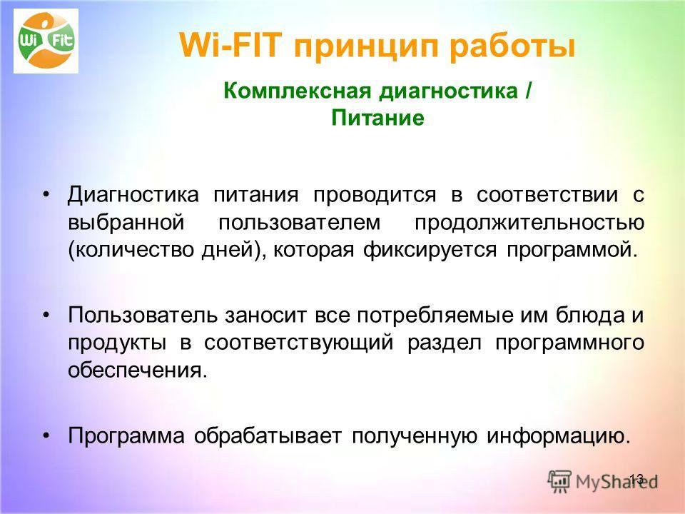 Wi-FIT принцип работы Комплексная диагностика / Питание Диагностика питания проводится в соответствии с выбранной пользователем продолжительностью (количество дней), которая фиксируется программой. Пользователь заносит все потребляемые им блюда и про