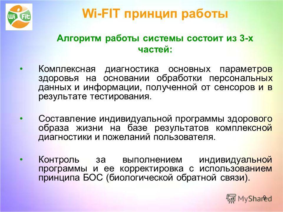 9 Wi-FIT принцип работы Aлгоритм работы системы состоит из 3-х частей: Комплексная диагностика основных параметров здоровья на основании обработки персональных данных и информации, полученной от сенсоров и в результате тестирования. Составление индив