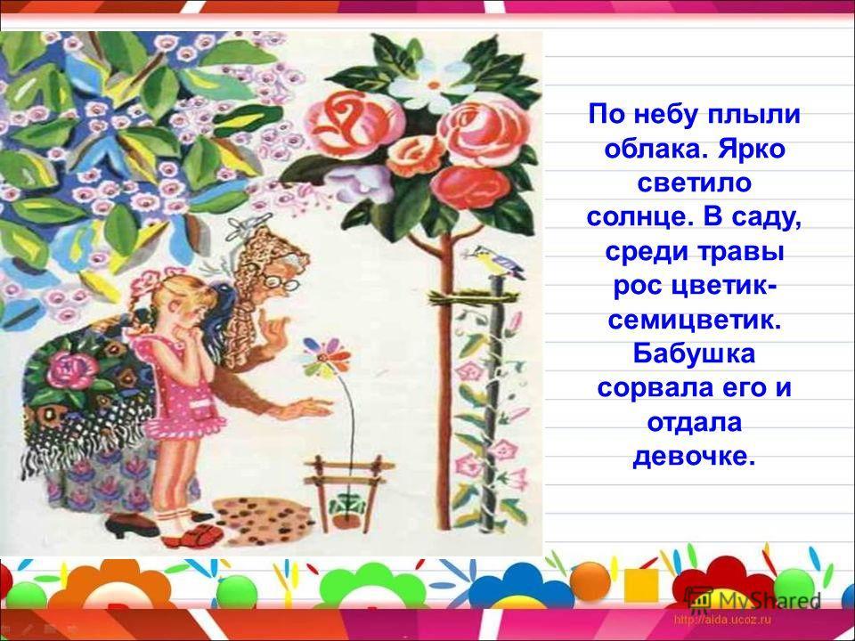По небу плыли облака. Ярко светило солнце. В саду, среди травы рос цветик- семицветик. Бабушка сорвала его и отдала девочке.