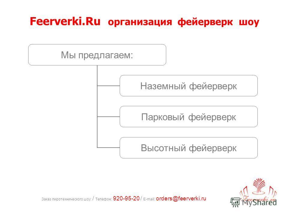 Заказ пиротехнического шоу: / Телефон: 920-95-20 / E-mail: orders@feerverki.ru Мы предлагаем: Наземный фейерверк Парковый фейерверк Высотный фейерверк Feerverki.Ru организация фейерверк шоу