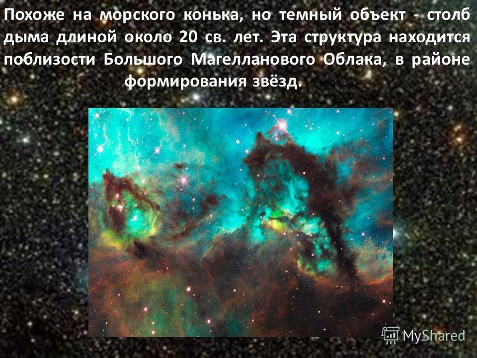 Похоже на морского конька, но темный объект - столб дыма длиной около 20 св. лет. Эта структура находится поблизости Большого Магелланового Облака, в районе формирования звёзд. звезд.