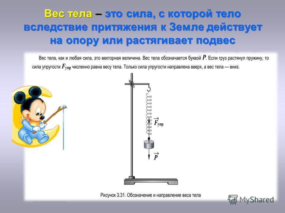 Вес тела – это сила, с которой тело вследствие притяжения к Земле действует на опору или растягивает подвес